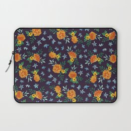Dark Floral: Marigolds and Borage Laptop Sleeve