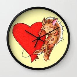 Heart Giraffe Wall Clock