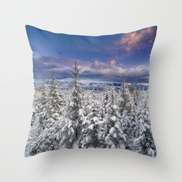 """Mountain Light III"" Snowy Forest At Sunset Throw Pillow"