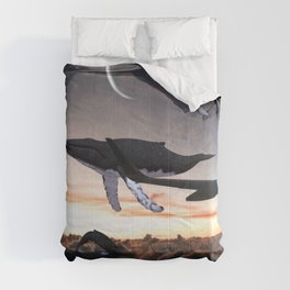 Whales Flying Above The Clouds-Looking Out The Window Comforters