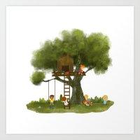 Tree Kids House Art Print