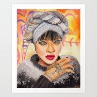 rihanna Art Prints featuring RIHANNA by Share_Shop