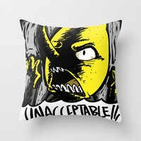 lemongrab Throw Pillows featuring UNACCEPTABLE!!! by Eevachu