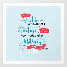 """""""Nothing Will Be Impossible"""" Hand-Lettered Bible Verse Art Print"""