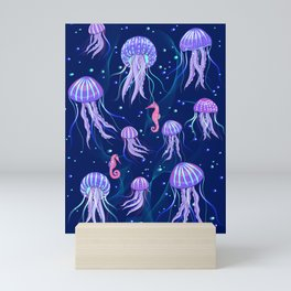 Glowing Jellyfish in the Deep Sea. Mini Art Print
