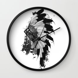 black and white headdress Wall Clock