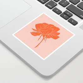 Red-Orange Peony Sticker