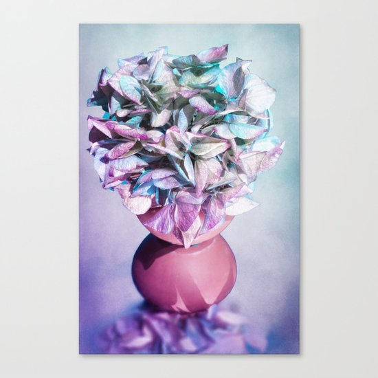 NOSTALGIA - Still life with vase and hydrangea flowers Canvas Print