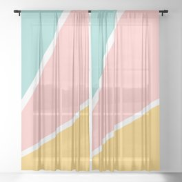 Tropical summer pastel pink turquoise yellow color block geometric pattern Sheer Curtain