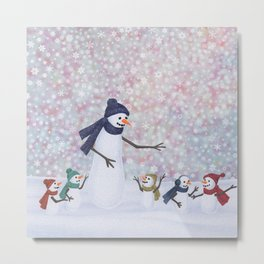 Mrs. Snowman and the kiddos Metal Print
