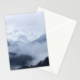 Mysterious fog rolling through layers of hills and mountains Stationery Cards