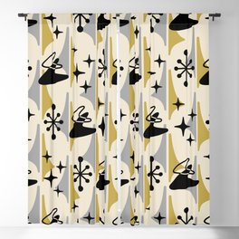 Mid Century Modern Cosmic Boomerang 726 Black Gold and Gray Blackout Curtain