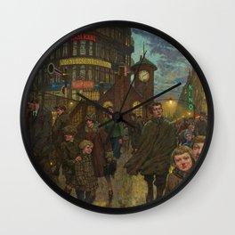 Bustling Berlin Street, Twilight, 1920's by Hans Baluschek Wall Clock