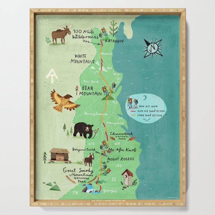 Appalachian Trail Hiking Map Serving Tray by chengel