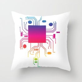Perfect Gift Coding Tee For Programmer T-shirt Design Computer Code Programming Motherboard Cpu Throw Pillow