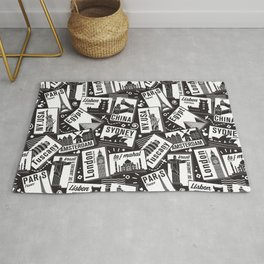 Retro Postcards // black and white Rug