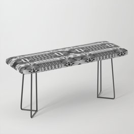 B&W Watercolor Ikat Bench