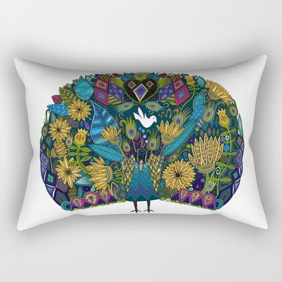 peacock garden white Rectangular Pillow