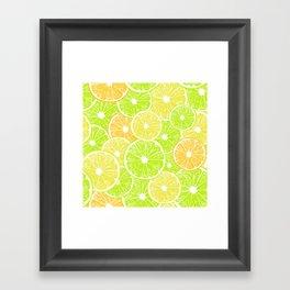 Lemon, orange and lime slices pattern design Framed Art Print