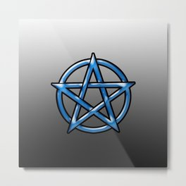 Blue Pentagram Metal Print