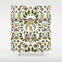 Spring Reflection - Floral/Botanical Pattern w/ Birds, Moths, Dragonflies & Flowers Shower Curtain
