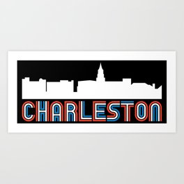 Red White Blue Charleston South Carolina Skyline Art Print