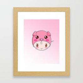 Cute Chubby Pig Hat Framed Art Print