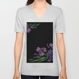 Embroidered Flowers on Black Corner 03 Unisex V-Neck