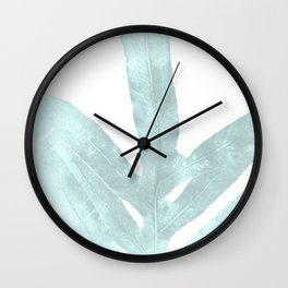 Ice Blue Fern in Summer White Wall Clock