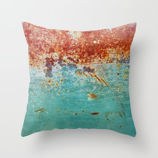Throw Pillow Rust : Teal Rust Throw Pillow by RichCaspian Society6