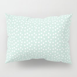 Mint Passion Thalertupfen White Pōlka Round Dots Pattern Pastels Pillow Sham