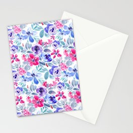 Handpainted Watercolor Floral Pattern Stationery Cards
