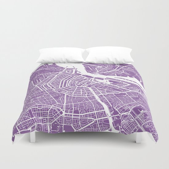 Amsterdam map lilac Duvet Cover