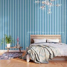Cyan cornflower blue - solid color - white vertical lines pattern Wallpaper