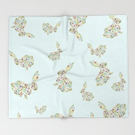 Spring Flowers Bunny on Blue Throw Blanket