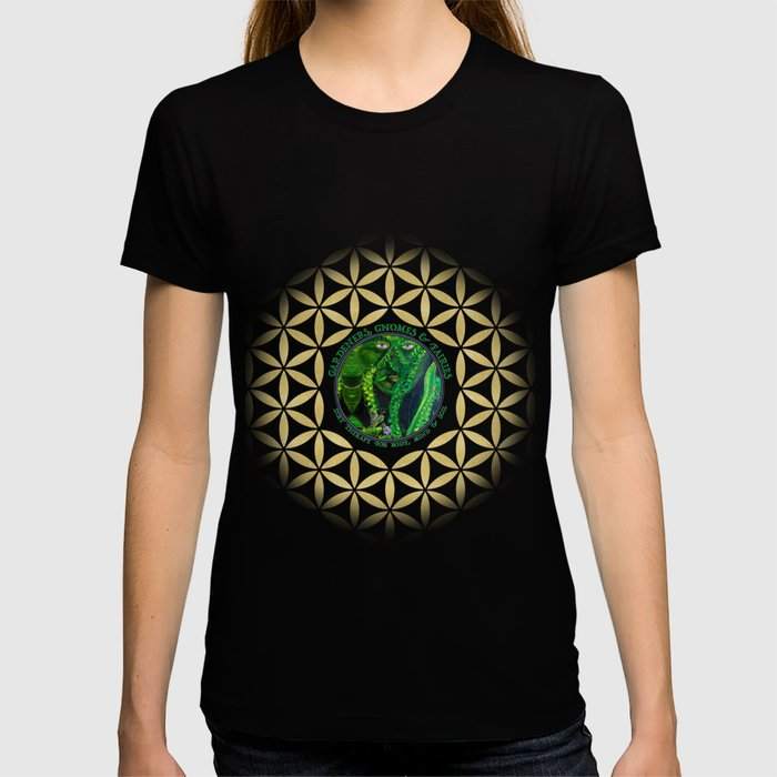 Gnome Fairy Golden Flower of Life T-shirt