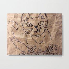 Cat on the bag Metal Print