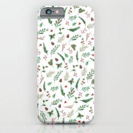 Winter Greens & Berries iPhone Case