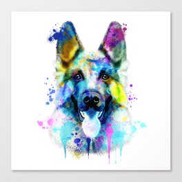 German Shepherd Watercolor, Watercolor Dog print, German Shepherd Print, German Shepherd Art Canvas Print