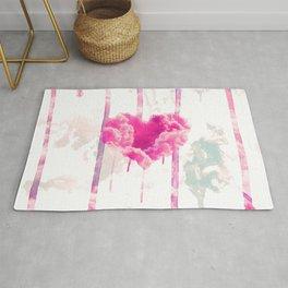 Bleed | Modern Pink Cloud Love Heart Pink Watercolor Drips Rug