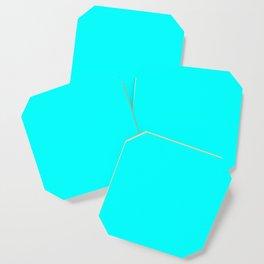 Neon Aqua Blue Bright Electric Fluorescent Color Coaster