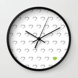 Hearts - Green Wall Clock