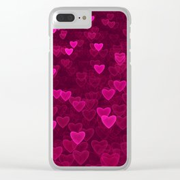 Valentine's Day | Romantic Crimson Galaxy | Universe of pink purple hearts Clear iPhone Case