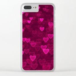 Valentine's Day | Romantic Crimson Galaxy | Universe of pink purple hearts Clear iPhone Case