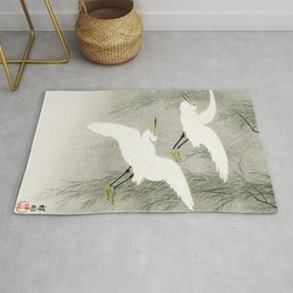 Flying Egrets - Japanese vintage woodblock print Rug