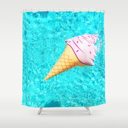 pink ice cream cone float all up in my pool yo Shower Curtain