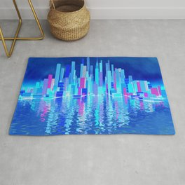blue city over the sea Rug