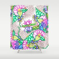 preppy Shower Curtains featuring Bright modern botanical preppy floral watercolor by Girly Trend