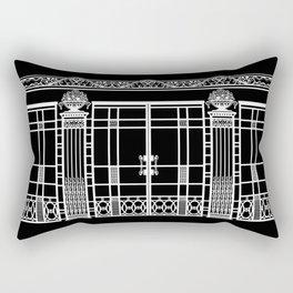 ART DECO, ART NOUVEAU IRONWORK: White on Black Rectangular Pillow