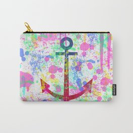 Modern abstract colorful watercolor nautical anchor splatters Carry-All Pouch